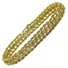 1.00 Carat Diamond Tennis Bracelet with 14K Yellow Gold Rope Chain, F-G Color