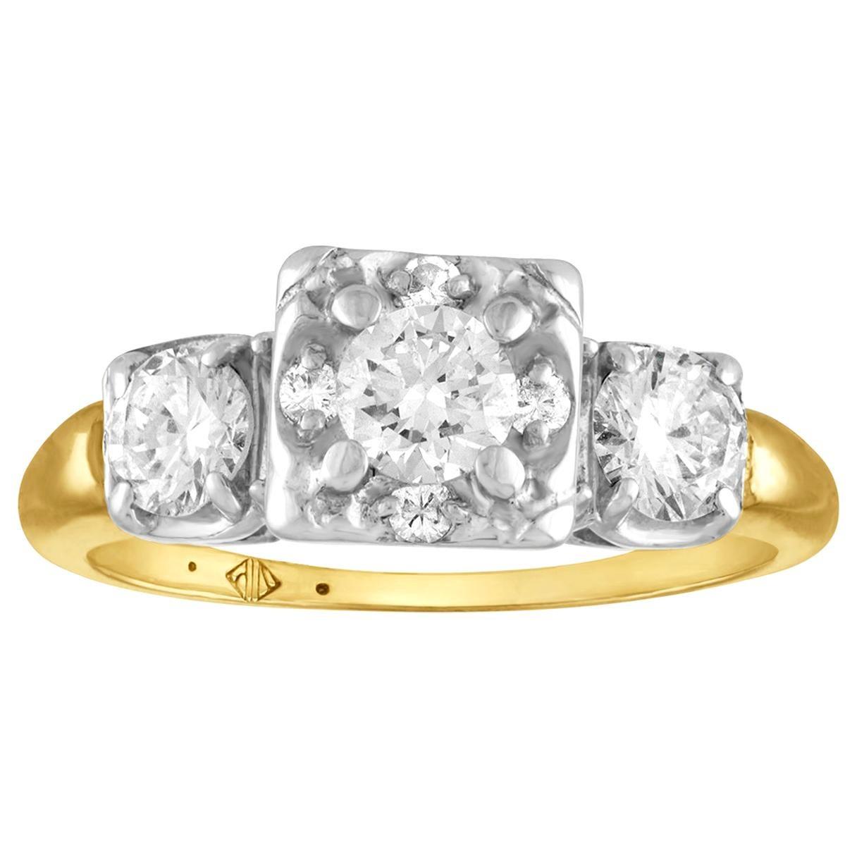 1.00 Carat Diamond Three-Stone Gold Ring