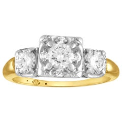 1.00 Carat Diamond Three-Stone Gold Ring
