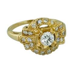 1.00 Carat Diamond Vintage Estate Ring in 14 Karat Yellow Gold, circa 1935