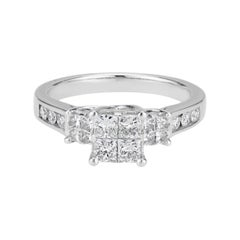 1.00 Carat Diamond White Gold Engagement Ring
