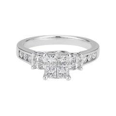 1.00 Carat Diamond White Gold Engagement Ring
