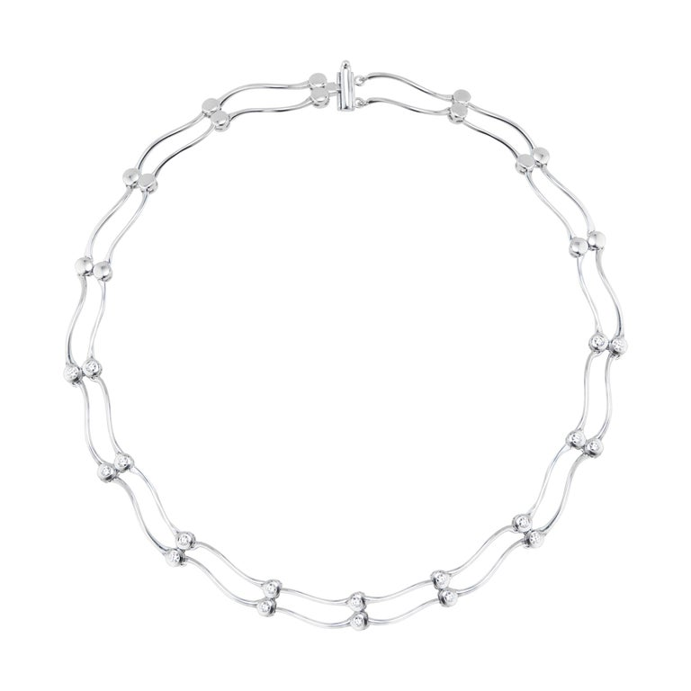 1.00 Carat Diamond White Gold Two Row Swirl Link Necklace  For Sale