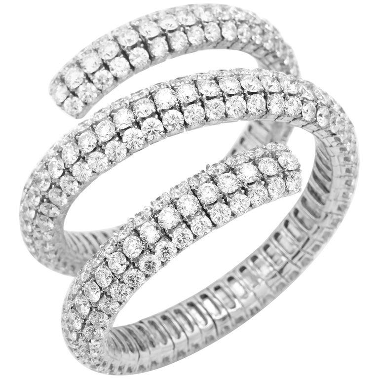 100 Carat Diamond Wrap Bracelet in 18 Karat Gold, 321 Diamonds at 100.00 Carat For Sale