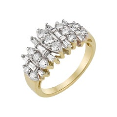 1.00 Carat Diamond Yellow Gold Cluster Ring