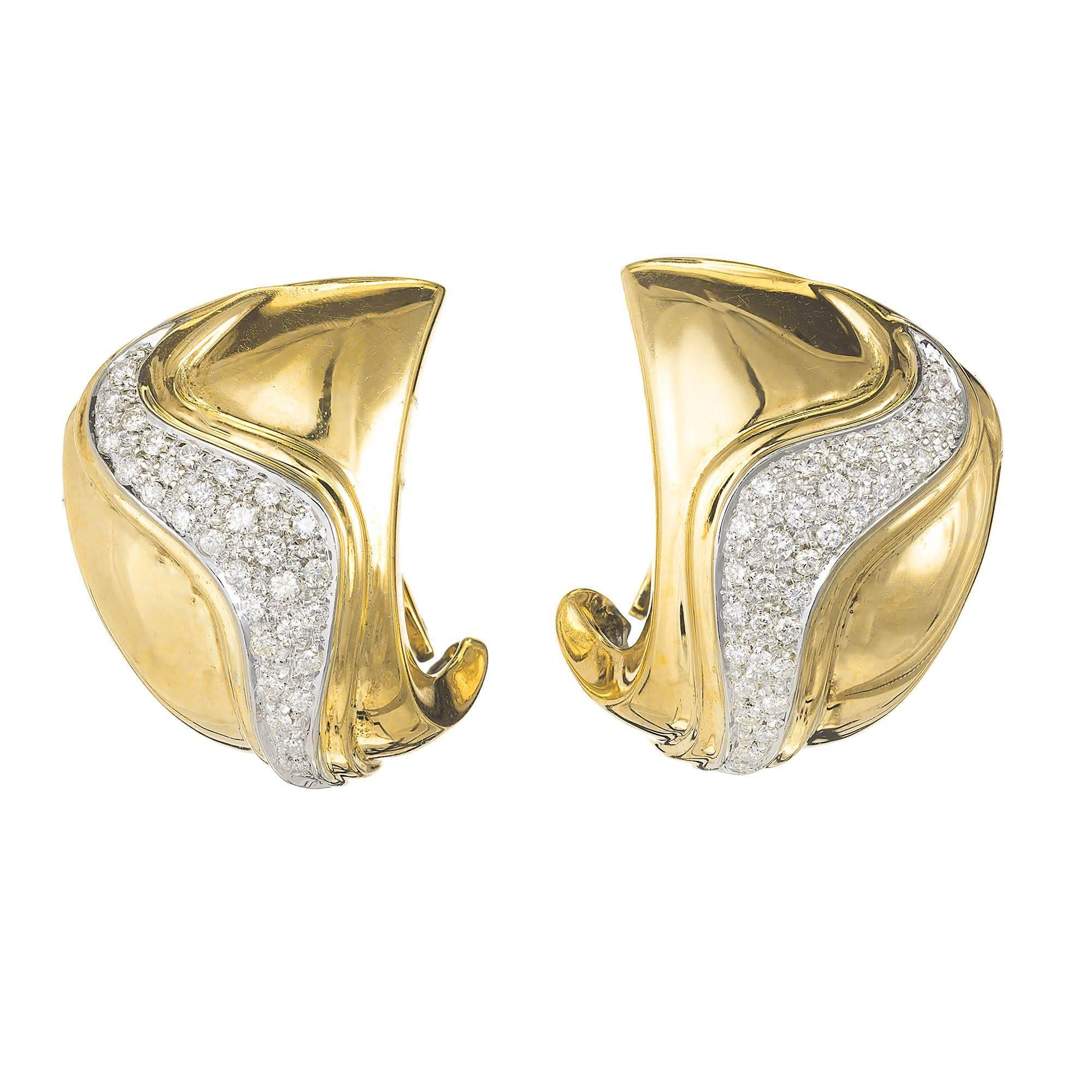 1.00 Carat Diamond Yellow Gold Swirl Earrings