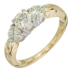 1.00 Carat Diamond Yellow White Gold Three-Stone Engagement Ring
