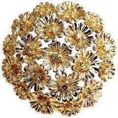 1.00 Carat Diamonds Dandelion Cluster Bundle Brooch Pendant 14 Karat