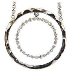 1.00 Carat Diamonds Dangling Circle Within Circle by Yard Necklace 18 Karat