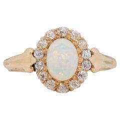 1.00 Carat Edwardian Opal 18 Karat & 14 Karat Yellow Gold Engagement Ring