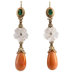 1.00 Carat Emerald Coral Rock Crystal White Diamond Yellow Gold Drop Earrings