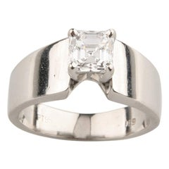 1.00 Carat Emerald Cut Diamond Solitaire Platinum Engagement Ring EGL