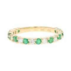 1.00 Carat Emerald Diamond 14 Karat Yellow Gold Band