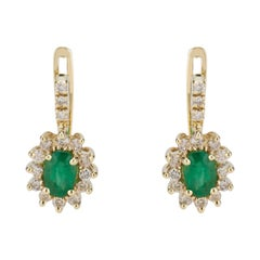 1.00 Carat Emerald Diamond Lever Back Yellow Gold Earrings