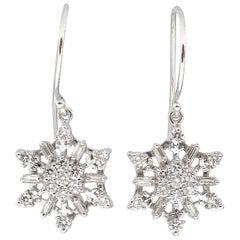 1.00 Carat Estate Vintage Diamond Snowflake Drop Earrings 14 Karat White Gold