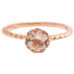 1.00 Carat Exquisite Natural Morganite 14 Karat Solid Rose Gold Ring