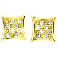 1.00 Carat Fancy Yellow White Diamond Stud Earrings 14 Karat