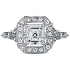 1.00 Carat Flawless GIA Certified Asscher Diamond Halo in 14 Karat Gold