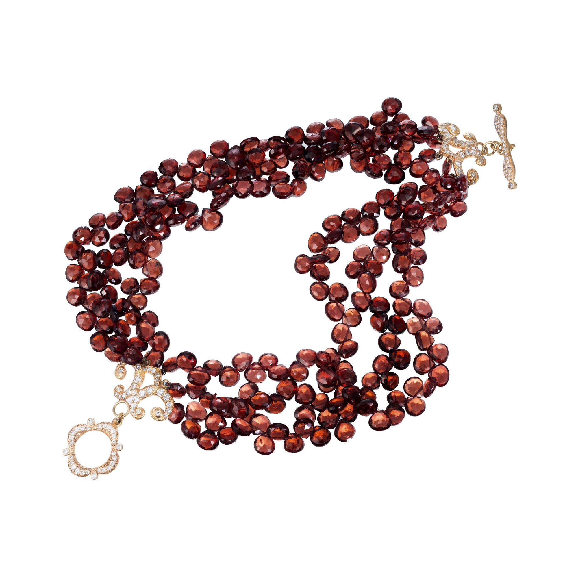 1.00 Carat Garnet Beads Diamond Yellow Gold Multi-Strand Bracelet