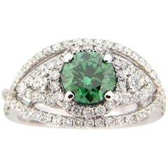 1.00 Carat Green and White Diamond Ring