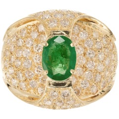 1.00 Carat Green Emerald Diamond Yellow Gold Cocktail Ring