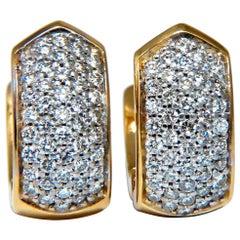 1.00 Carat Huggie Classic Diamond Semi Hoop Earrings 18 Karat