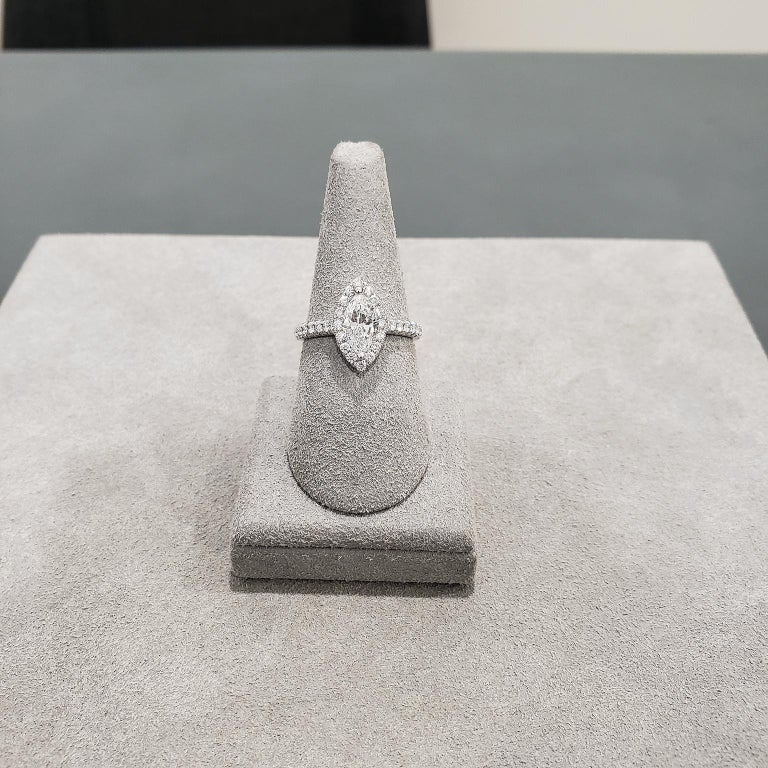 Contemporary 1.00 Carat Marquise Cut Diamond Halo Engagement Ring For Sale