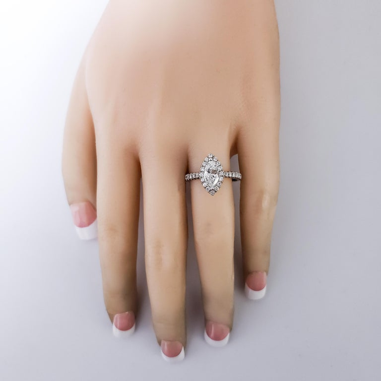 Women's 1.00 Carat Marquise Cut Diamond Halo Engagement Ring For Sale