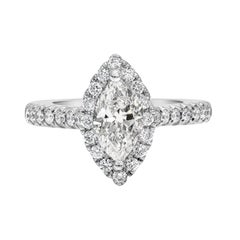 1.00 Carat Marquise Cut Diamond Halo Engagement Ring