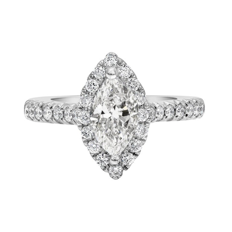 1.00 Carat Marquise Cut Diamond Halo Engagement Ring For Sale
