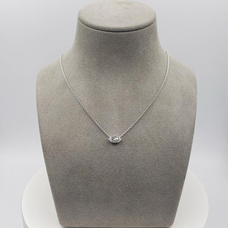 Contemporary 1.00 Carat Marquise Cut Diamond Solitaire Pendant Necklace For Sale