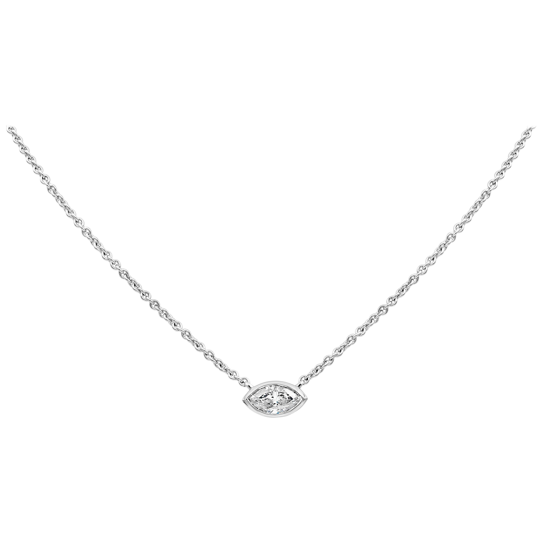 1.00 Carat Marquise Cut Diamond Solitaire Pendant Necklace