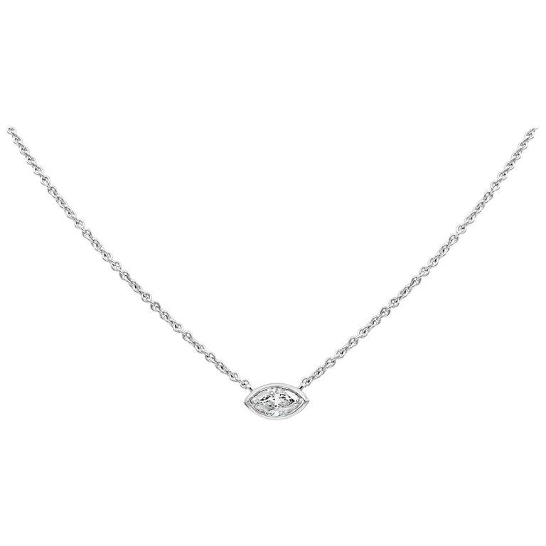 1.00 Carat Marquise Cut Diamond Solitaire Pendant Necklace For Sale
