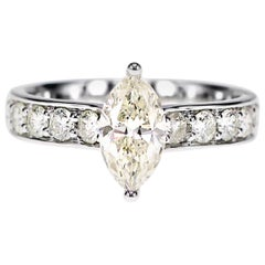 1.00 Carat Marquise Cut White Diamond Engagement Ring