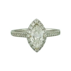 1.00 Carat Marquise Diamond and Diamond Halo Engagement Ring with Diamond Band