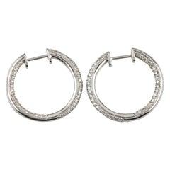 1.00 Carat Micro Pave Round Diamond Hoop Earrings Set in 14 Karat White Gold