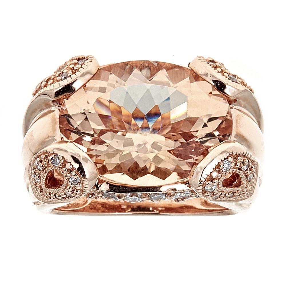 10 TCW Oval Morganite and Diamond accent Cocktail Ring in 14 karat Rose Gold