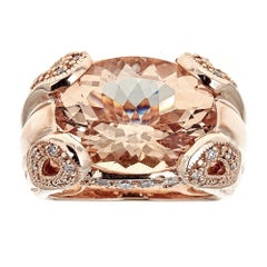 10.0 Carat Morganite and 0.75 Carat Diamond Ring in 14 Karat Rose Gold