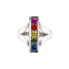 1.00 Carat Multi-Color Sapphire Ring in 18 Karat Gold