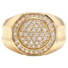 1.00 Carat Natural Diamond 14 Karat Solid Yellow Gold Men's Ring