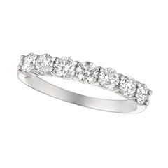 1.00 Carat Natural Diamond 7 Stone Ring Band G SI 14k White Gold