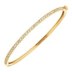 1.00 Carat Natural Diamond Bangle Bracelet G SI 14K Yellow Gold