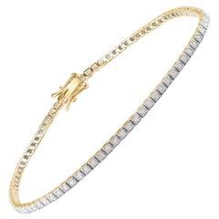 1.00 Carat Diamond 10 Karat Yellow Gold Classic Tennis Bracelet