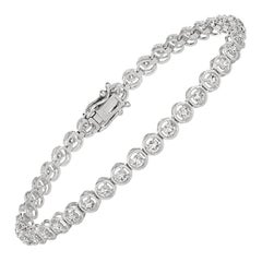 1.00 Carat Natural Diamond Bracelet G SI 14 Karat White Gold
