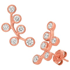 1.00 Carat Natural Diamond Climber Bezel Earrings G SI 14 Karat Rose Gold