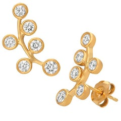 1.00 Carat Natural Diamond Climber Bezel Earrings G SI 14 Karat Yellow Gold