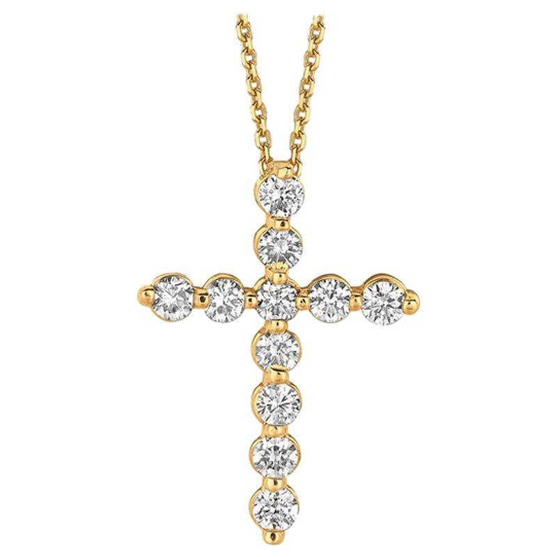 1.00 Carat Natural Diamond Cross Necklace 14 Karat Yellow Gold G SI Chain