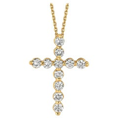 1.00 Carat Natural Diamond Cross Necklace 14 Karat Yellow Gold G SI Chain