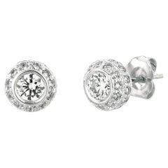 1.00 Carat Natural Diamond Earrings G SI 14K White Gold