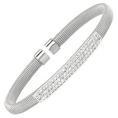 1.00 Carat Natural Diamond Fancy Bangle Bracelet G-H SI 14 Karat White Gold